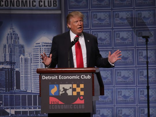 Donald Trump speaks to the Detroit Economic Club on