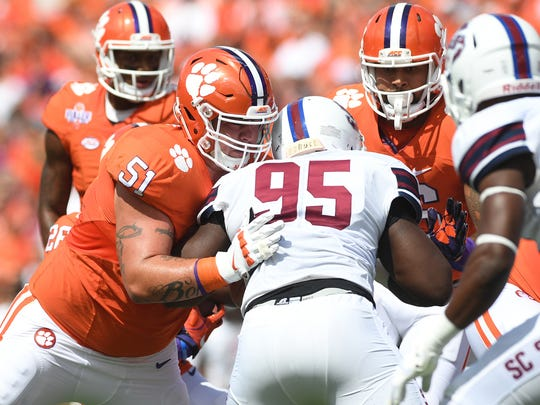 Clemson offensive lineman Taylor Hearn (51) blocks S.C. State defensive end Cordell Brown (95) during the 1st quarter on Sept. 17 at Clemson's Memorial Stadium.