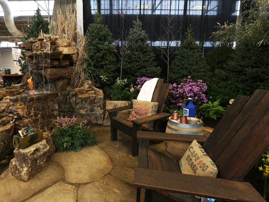 Part of a scene designed by Start to Finish Landscaping, during the Indiana Flower and Patio Show, Monday, March 14, 2016, at the Indiana State Fairgrounds.