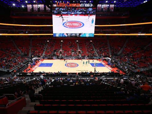 Little Caesars Arena scoreboard, Little Caesars Arena floor, Detroit Pistons Charlotte Hornets