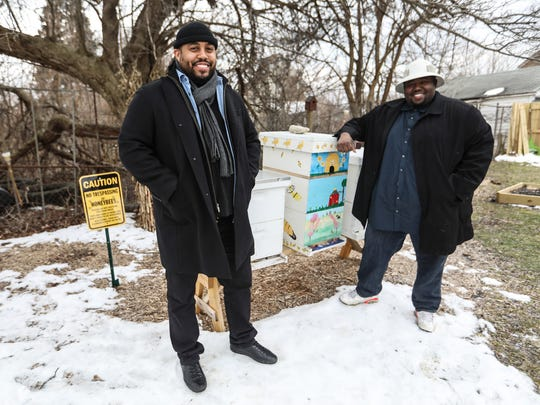 Keith Crispen, 32, of Detroit left, and Timothy Paule, 34, of Detroit started a non-profit called Detroit Hives that transformed a vacant lot on the east side of Detroit to a bee hive and future farm. They are photographed on the property they received through the Detroit Land Bank Authority on Tuesday, March 13, 2018.