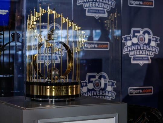 The 1968 World Series trophy is seen on display in Detroit on Monday.