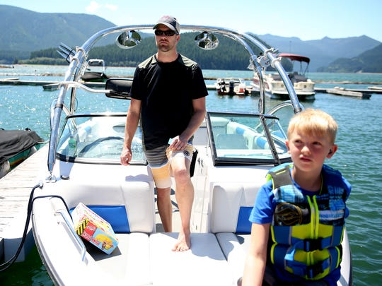Shawn Anderson, 42, of Camas, Wash., with his son Carter