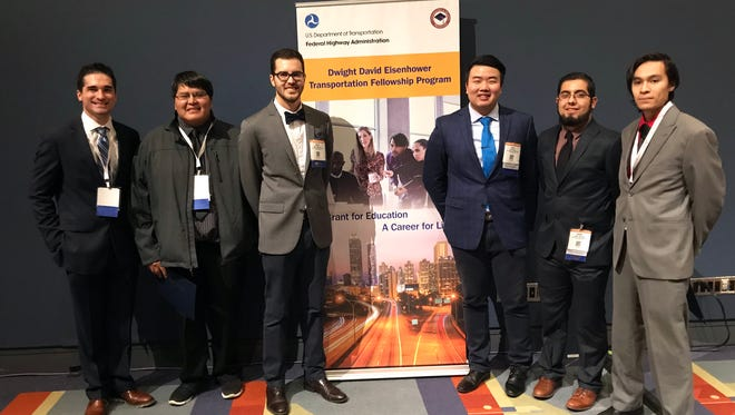 New Mexico State University's College of Engineering students, from left, Alain Cuaron, William Toledo, Mark Manning, Arno Cheng, Adam Sanchez and Jason Alcantar attended the Transportation Research Board annual meeting Jan. 7-11 in Washington, D.C. The civil engineering graduate students are recipients of the Dwight David Eisenhower Transportation Fellowship Program.