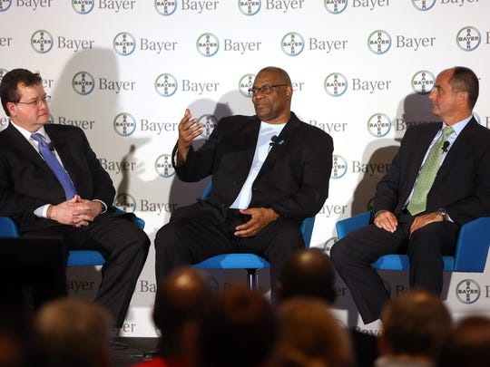 Robert LaCaze, l, Executive Vice President of the new Oncology Strategic Business Unit, former outfielder for the Cincinnati Reds, Ken Griffey Sr. and Board of Management of Bayer AG and head of the Pharmaceuticals Division, Dieter Weinand during a discussion about cancer at a World Cancer Day event at Bayer in Whippany. February 3, 2016, Whippany, NJ.