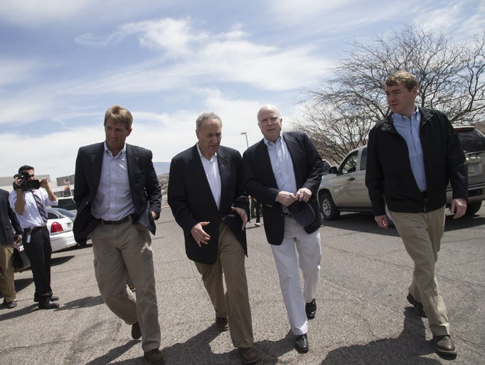 Sens. Jeff Flake (from left), R-Ariz., Charles Schumer,