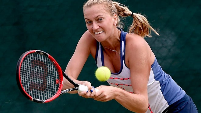 Petra Kvitova of the Czech Republic in action during a training session on the eve of the Wimbledon Championships at the All England Lawn Tennis Club, in London,  on June 28, 2015.