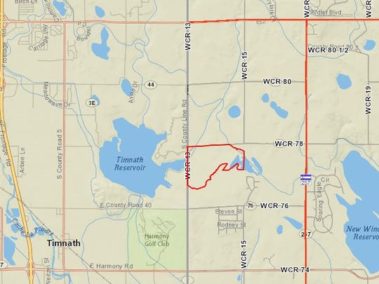 The area outlined in red shows the Buffalo Creek subdivision in Weld County.