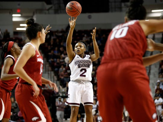 Mississippi State guard Morgan William (2) shoots against