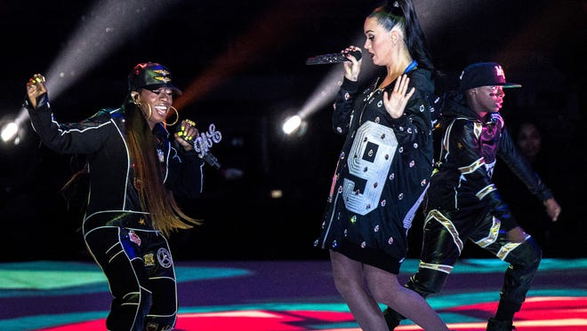 Recording artists Katy Perry and Missy Elliott perform onstage during the Pepsi Super Bowl XLIX Halftime Show at University of Phoenix Stadium on February 1 in Glendale, Arizona.