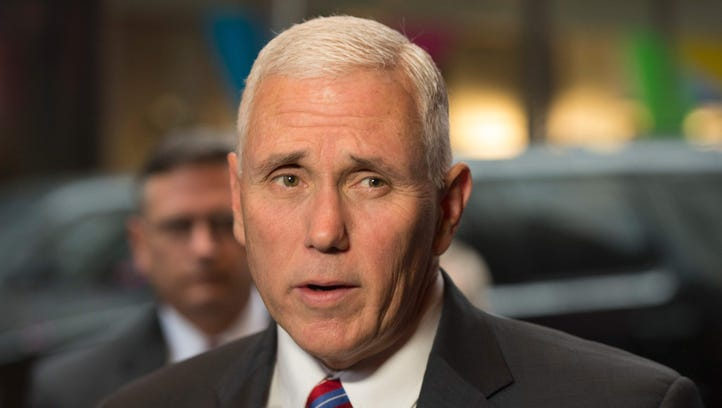 Vice president Mike Pence spoke out on Friday, March 3, 2016, about his use of a private AOL email account to conduct some business while he was Indiana's governor. He is shown here meeting with GOP lawmakers at the end of last year.