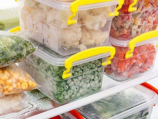 Frozen food in the freezer