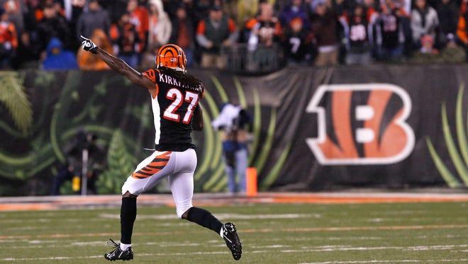 Dec 22, 2014; Cincinnati, OH, USA; Cincinnati Bengals cornerback Dre Kirkpatrick (27) reacts against the Denver Broncos at Paul Brown Stadium. The Bengals won 37-28. Mandatory Credit: Aaron Doster-USA TODAY Sports