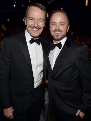 Bryan Cranston (left) and Aaron Paul won best actor and best supporting actor for a drama series for 'Breaking Bad'.