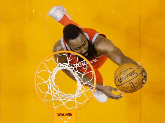 James Harden scored 48 points while helping the Rockets to a 90-point first half against the Phoenix Suns on Nov. 16, 2017 at Talking Stick Resort Arena in Phoenix, Ariz. The Rockets won 142-116.