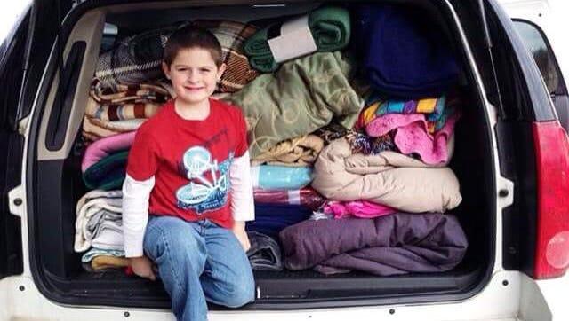 Hunter Lenk has collected hundreds of blankets for Wheeler Mission.