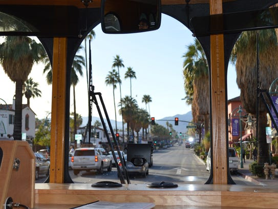 The view from a Buzz trolley as it makes its way through downtown Palm Springs.