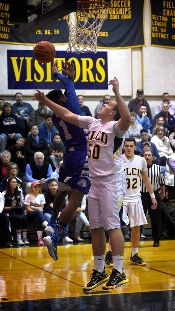 Elco Raider Dylan Stoops goes up for a rebound Tuesday night, Feb. 16, against Steel-High. The Raiders came away with a 80-58 win.