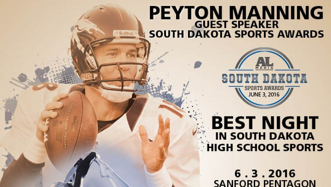 Peyton Manning will speak at the inaugural South Dakota Sports Awards event on June 3, 2016, presented by Argus Leader Media and title sponsors Sanford Health and Lewis Drug.