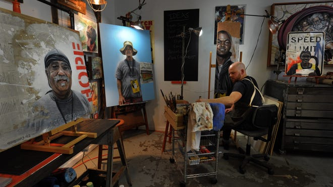Ryan Wagner's paintings aim to add contour and context to the homeless faces he sees through his car windows.