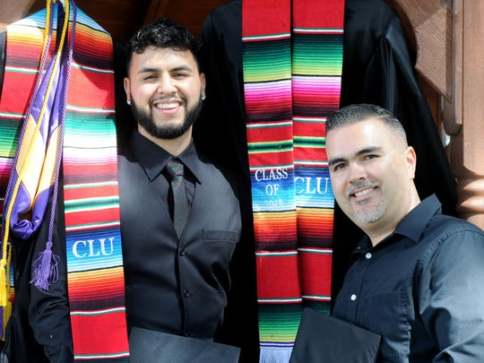 Father and son Daniel, right, and Danny Chavez, of Oxnard, will graduate from college together Saturday at California Lutheran University.