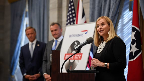 Mayor Megan Barry with Tennessee Gov. Bill Haslam and