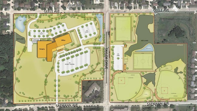 A mock-up of the proposed Aurora Health Care surgical center and new fields across the street.