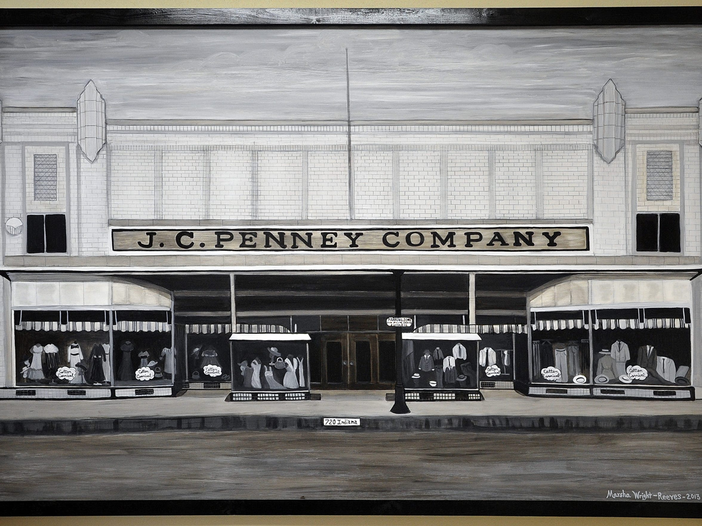 A painting by local artist Marsha Wright-Reeves depicts the original JCPenney storefront, which opened in 1917 and at 720 Indiana. The painting hangs in the Museum of North Texas History, which is located at the same address, but in a newer building.