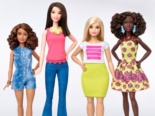 Barbie announced Thursday that it will introduce 33 new dolls this year, in four different body types and varying skin tones. This is the first time Barbie has sold a doll that differs from the original stick-thin frame.