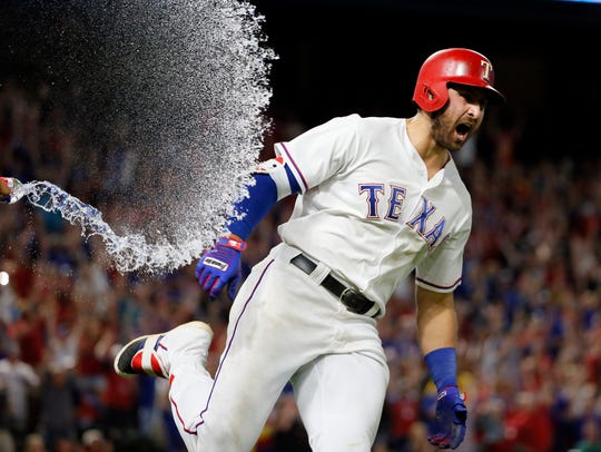 Joey Gallo rounds first after a walk-off homer against Oakland earlier this season. Gallo is hitting .210 with 37 home runs and 87 RBIs.