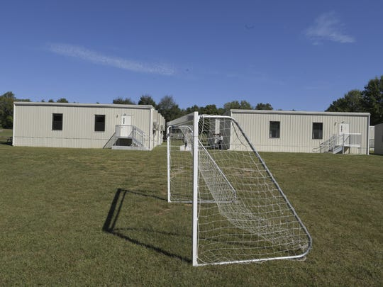 Portable classrooms sit the soccer field at Oak View Elementary in 2017.
