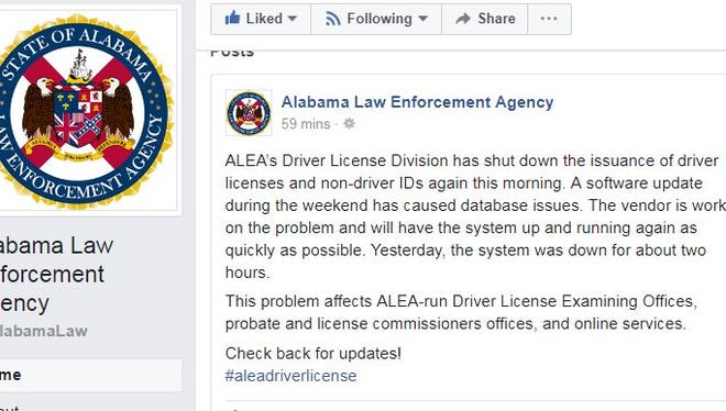 This was posted on ALEA's Facebook page Tuesday morning.