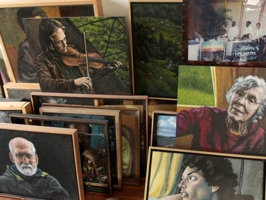 A collection of work by artist Ed Epstein pictured Wednesday at Esptein's home in Montpelier.