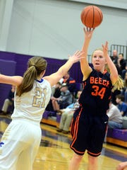 Beech High sophomore guard Reese Taylor releases a