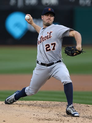 Tigers pitcher Jordan Zimmermann works against the Athletics in the first inning Saturday in Oakland, Calif.
