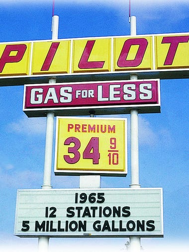 A Pilot gas station sign photographed in 1965. By then,