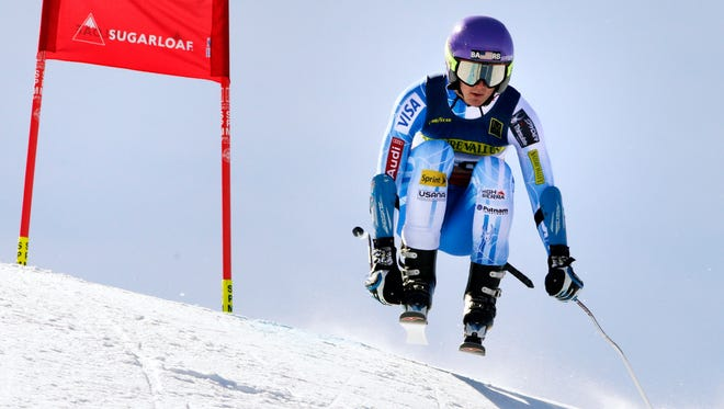 Drew Duffy, of Warren, catches some air on his run during the men's super-G skiing race at the U.S. Alpine Ski Championships at Sugarloaf Mountain Resort in Carrabassett Valley, Maine, Wednesday. Duffy won the race, beating U.S. Ski Team Olympians Steve Nyman, who finished second, and Travis Ganong, who finished third.