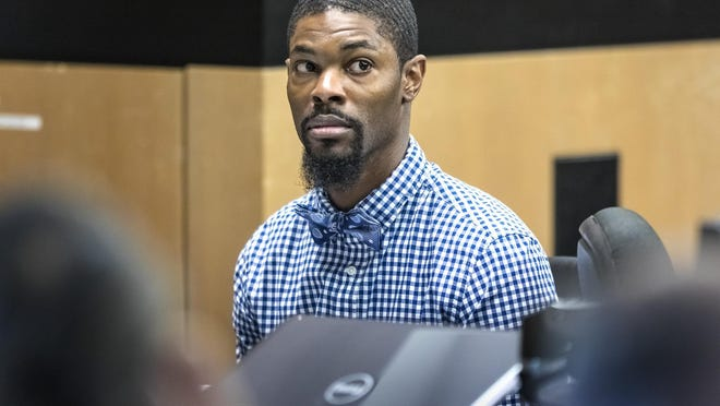 Daron Harrell sits in court Tuesday, March 3, 2020 as potential jurors are questioned for his first degree murder trial in connection with the fatal shooting 36-year-old Kevin Lamar Stevens. Stevens was found shot in a crashed car on the 700 block of Fifth Street in West Palm Beach on May 5, 2018.