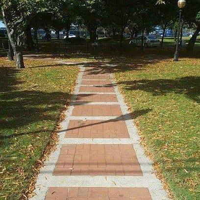 The blocks of bricks on the Proprietors Park Walk will