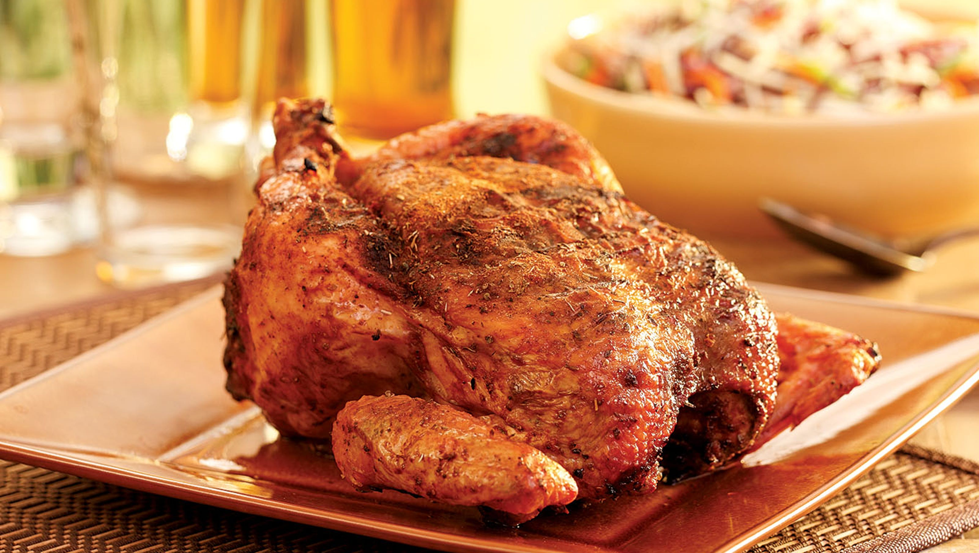 Beer-roasted chicken high in flavor, low in fat