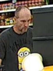 "West Manchester Township Police are asking for help in identifying this man, seen wearing a Minion T-shirt from the ""Despicable Me"" movies, in connection with a recent theft at the Walmart. To help, call Officer David Coates at 717-792-9514."