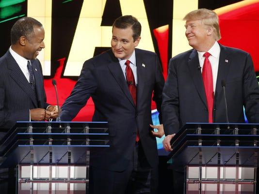 Ben Carson, Donald Trump, Ted Cruz