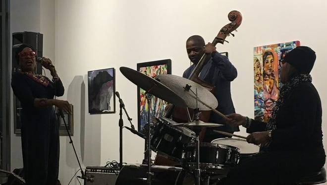 Legendary jazz vocalist Dee Dee Bridgewater performs with bassist Rodney Whitaker and drummer Terri Lyne Carrington at the Geri Allen tribute at the Carr Center Gallery in Detroit on Saturday, Sept. 2, 2017.