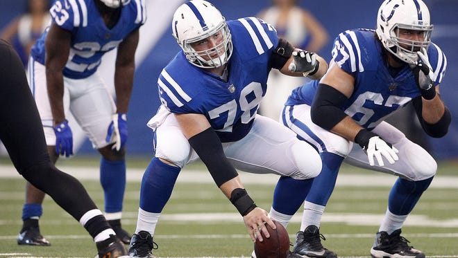 Indianapolis Colts center Ryan Kelly (78) prepares to snap the ball in the first half of their game at Lucas Oil Stadium, Sunday, Oct 22, 2017.