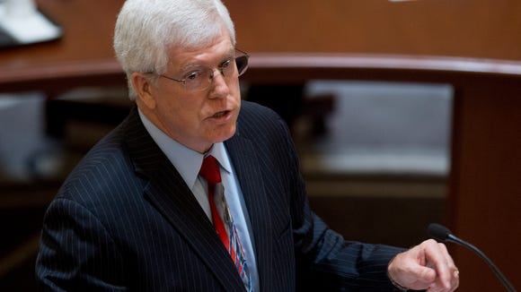 Roy Moore's attorney Mat Staver gives oral arguments  before the Court of the Judiciary at the state judicial building in Montgomery, Ala., on Monday August 8, 2016.