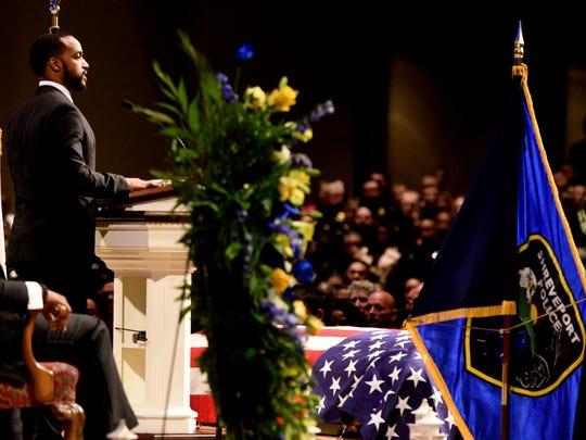 Shreveport tMayor Adrian Perkins speaks during the funeral for Shreveport Police Department officer ChatŽri Payne, Saturday January 19, 2019 at Summer Grove Baptist Church.