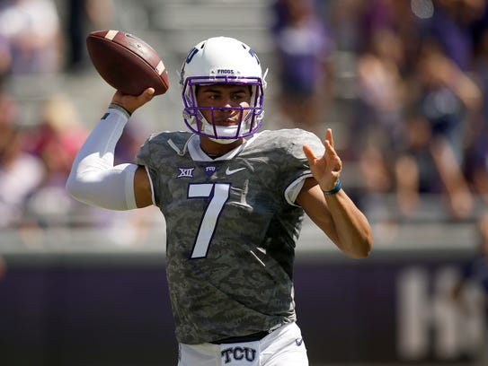 TCU quarterback Kenny Hill (7) trows in the first half