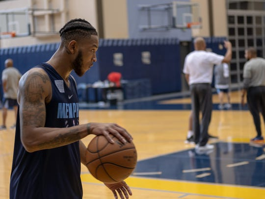 Markel Crawford focuses during the Memphis Grizzlies