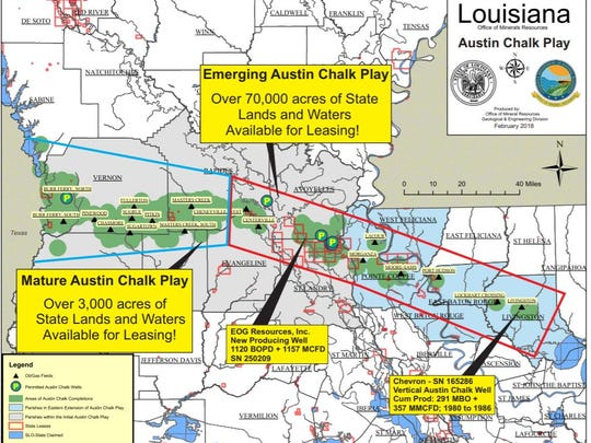This map shows the path of the Austin Chalk through Central Louisiana.