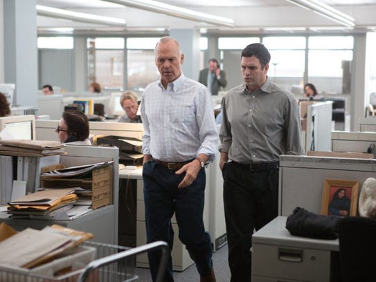 "Michael Keaton and Mark Ruffalo in ""Spotlight."""